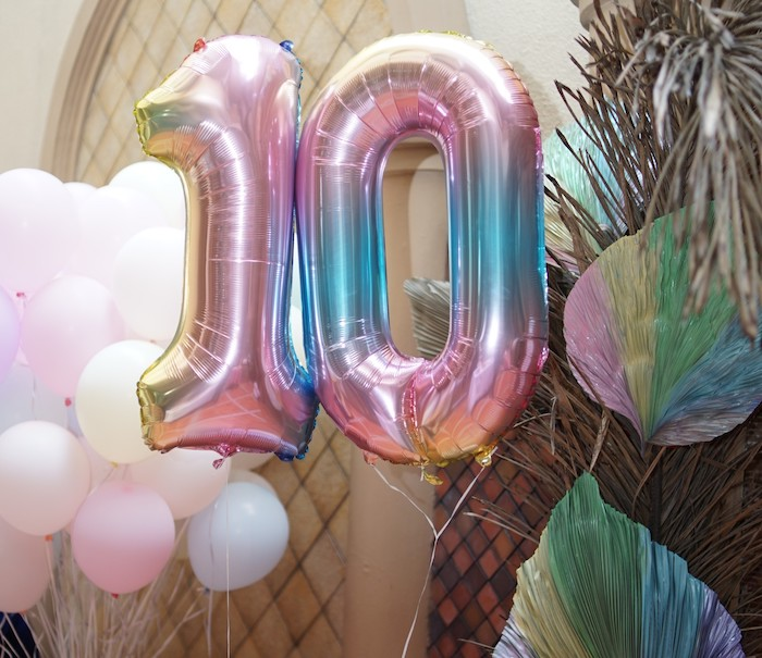 Mylar Rainbow Number Balloons from a Pastel Unicorn Birthday Party on Kara's Party Ideas | KarasPartyIdeas.com (7)