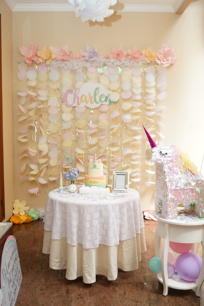 Unicorn Themed Cake Table from a Pastel Unicorn Birthday Party on Kara's Party Ideas | KarasPartyIdeas.com (6)
