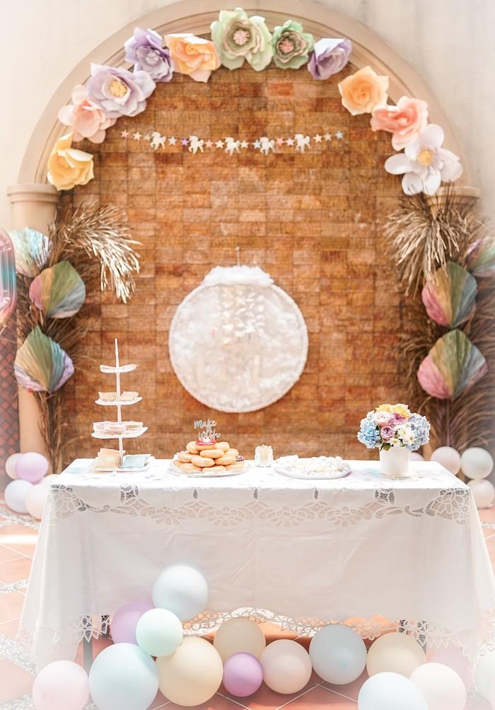 Unicorn Themed Dessert Table from a Pastel Unicorn Birthday Party on Kara's Party Ideas | KarasPartyIdeas.com (18)