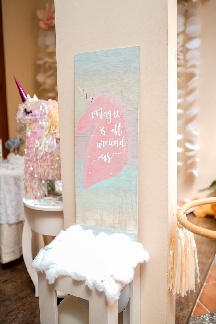 Unicorn Sign from a Pastel Unicorn Birthday Party on Kara's Party Ideas | KarasPartyIdeas.com (17)