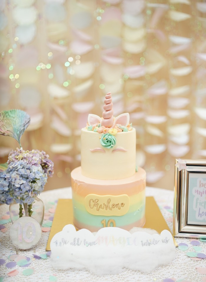 Unicorn Cake from a Pastel Unicorn Birthday Party on Kara's Party Ideas | KarasPartyIdeas.com (14)