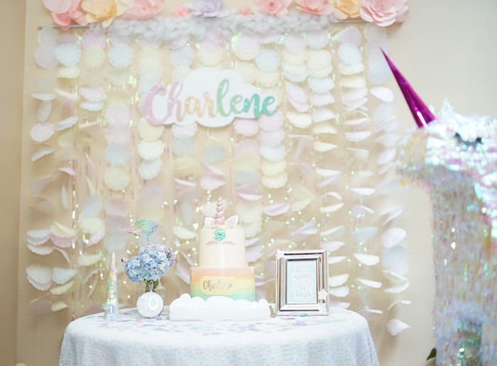 Unicorn Themed Cake Table from a Pastel Unicorn Birthday Party on Kara's Party Ideas | KarasPartyIdeas.com (13)