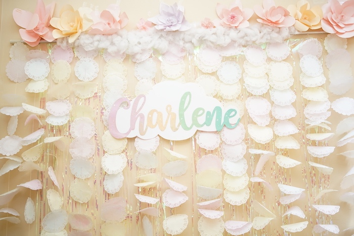 Doily Garland Backdrop from a Pastel Unicorn Birthday Party on Kara's Party Ideas | KarasPartyIdeas.com (12)