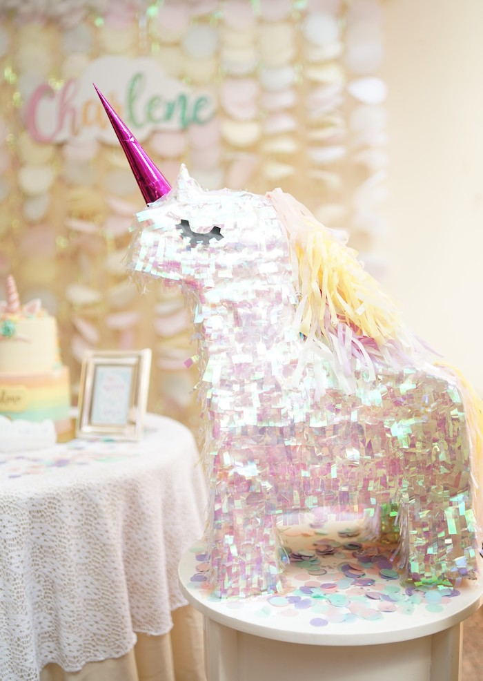 Iridescent Unicorn Pinata from a Pastel Unicorn Birthday Party on Kara's Party Ideas | KarasPartyIdeas.com (11)