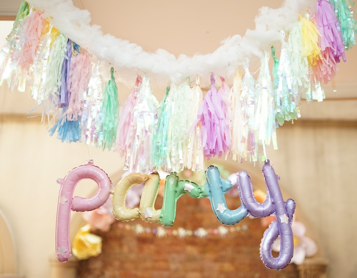 Party - Balloon Tassel Banner from a Pastel Unicorn Birthday Party on Kara's Party Ideas | KarasPartyIdeas.com (10)