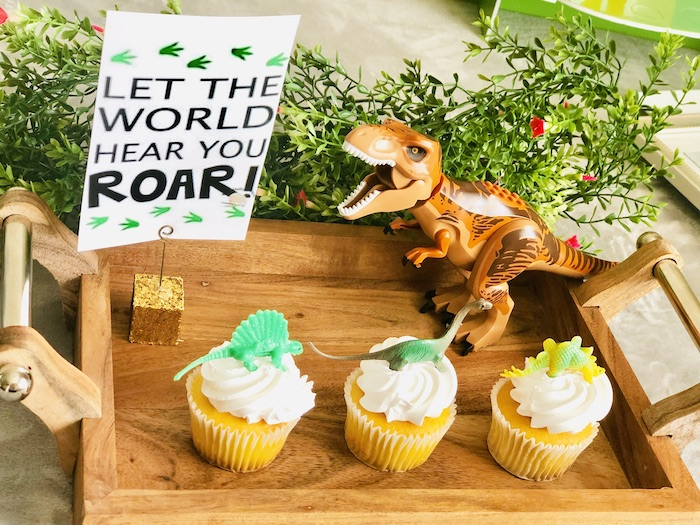 Dinosaur Cupcakes + Tray from a Roaring Dinosaur Birthday Party on Kara's Party Ideas | KarasPartyIdeas.com (18)