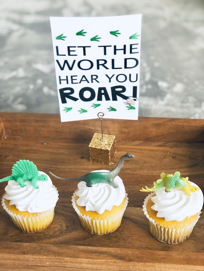 Dinosaur Cupcakes from a Roaring Dinosaur Birthday Party on Kara's Party Ideas | KarasPartyIdeas.com (16)