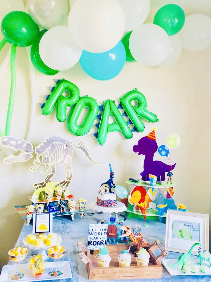 Dinosaur Themed Dessert Table from a Roaring Dinosaur Birthday Party on Kara's Party Ideas | KarasPartyIdeas.com (12)