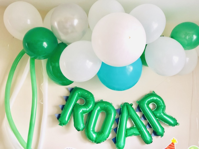 ROAR Balloon Backdrop from a Roaring Dinosaur Birthday Party on Kara's Party Ideas | KarasPartyIdeas.com (11)