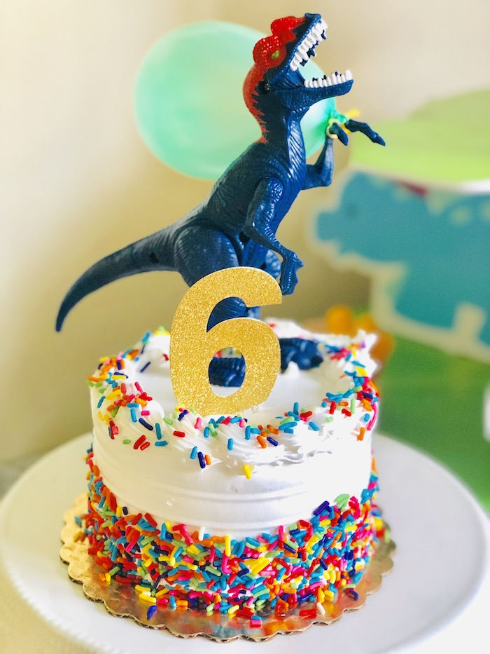 Confetti Dinosaur Cake from a Roaring Dinosaur Birthday Party on Kara's Party Ideas | KarasPartyIdeas.com (10)