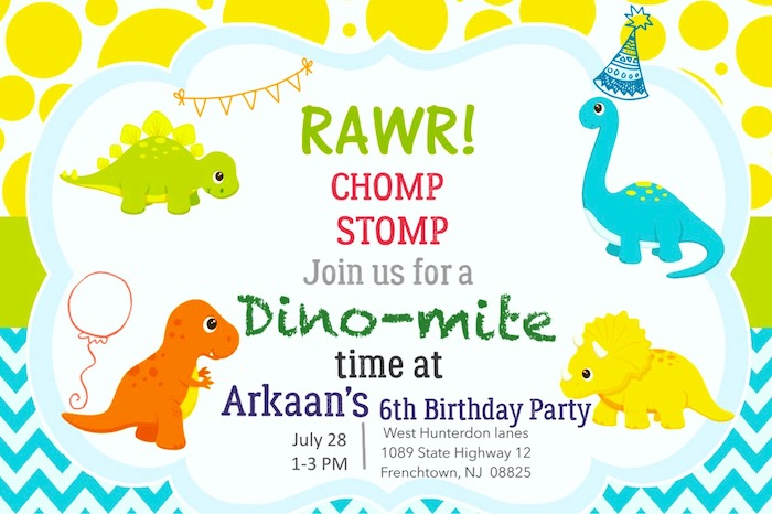 Dinosaur Party Invite from a Roaring Dinosaur Birthday Party on Kara's Party Ideas | KarasPartyIdeas.com (9)