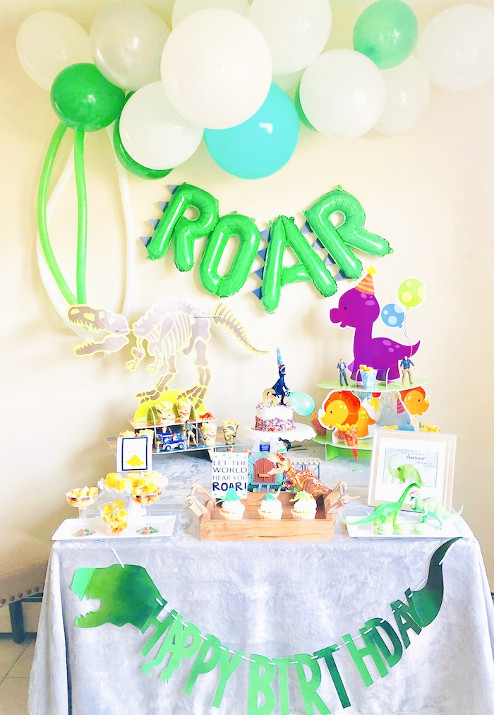 Dinosaur Themed Dessert Table from a Roaring Dinosaur Birthday Party on Kara's Party Ideas | KarasPartyIdeas.com (8)