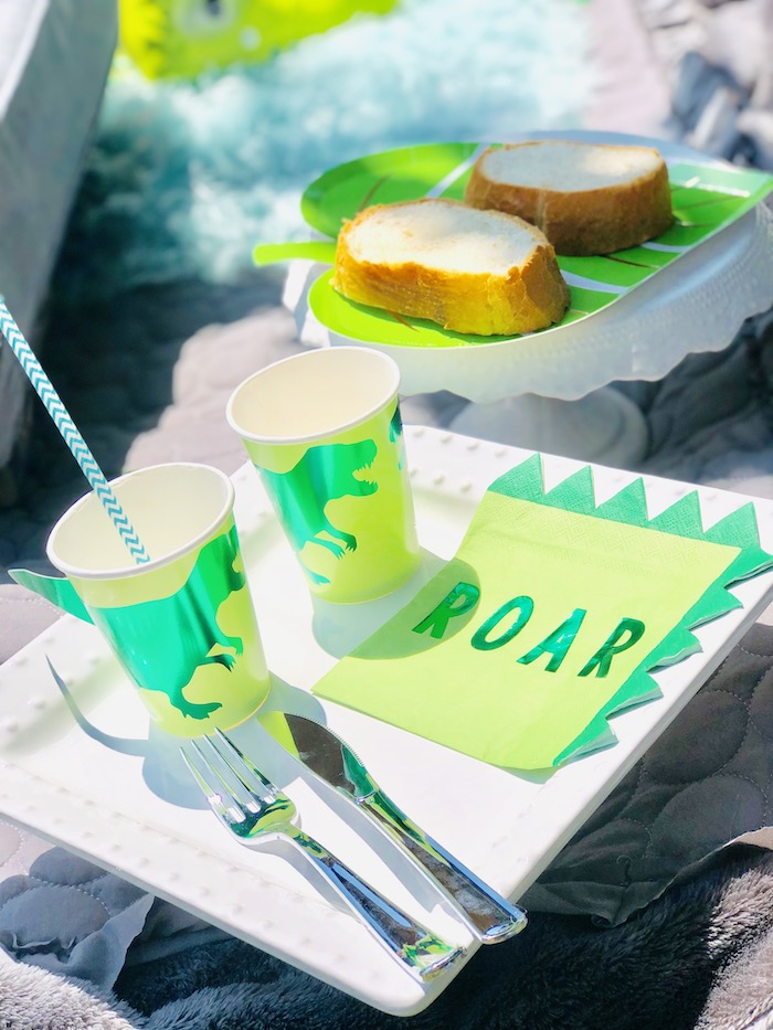 ROAR - Dinosaur Table Setting from a Roaring Dinosaur Birthday Party on Kara's Party Ideas | KarasPartyIdeas.com (27)