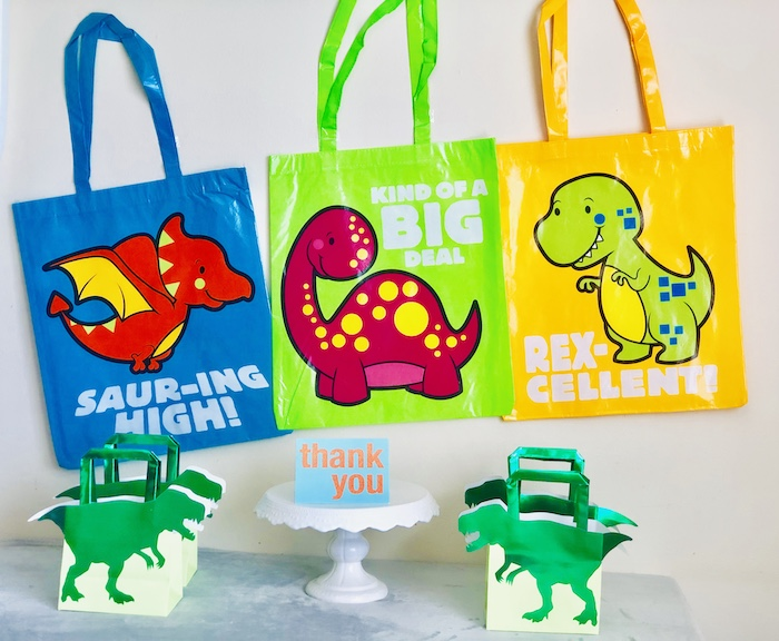 Dinosaur Favor Bags from a Roaring Dinosaur Birthday Party on Kara's Party Ideas | KarasPartyIdeas.com (26)