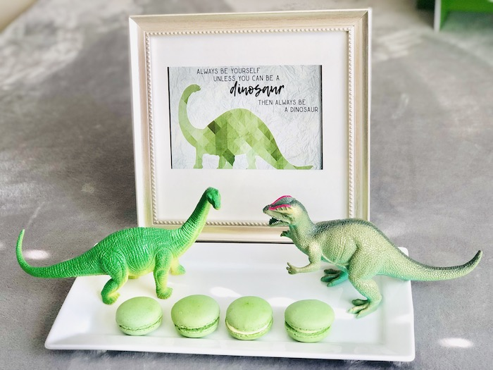 Dinosaur-inspired Macaron Tray from a Roaring Dinosaur Birthday Party on Kara's Party Ideas | KarasPartyIdeas.com (25)
