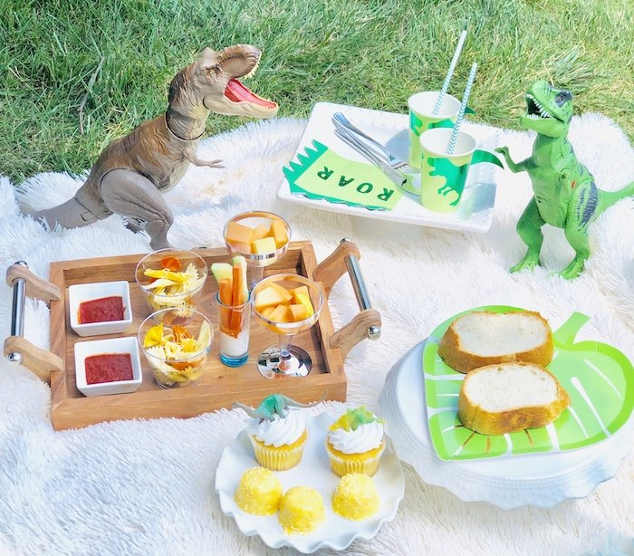 Dinosaur-inspired Food Table from a Roaring Dinosaur Birthday Party on Kara's Party Ideas | KarasPartyIdeas.com (24)