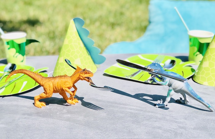 Dinosaur Party Table + Props from a Roaring Dinosaur Birthday Party on Kara's Party Ideas | KarasPartyIdeas.com (21)