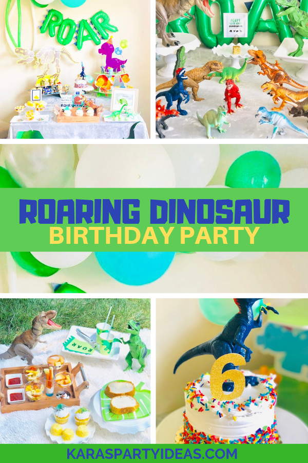 Roaring dinosaur dino birthday party via Kara's Party Ideas KarasPartyIdeas.com