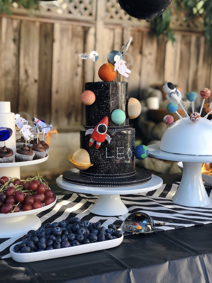 Space Cake from a Space Galaxy Birthday Party on Kara's Party Ideas | KarasPartyIdeas.com (11)