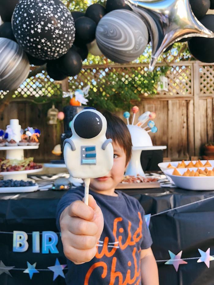 Astronaut Cake Pop from a Space Galaxy Birthday Party on Kara's Party Ideas | KarasPartyIdeas.com (9)