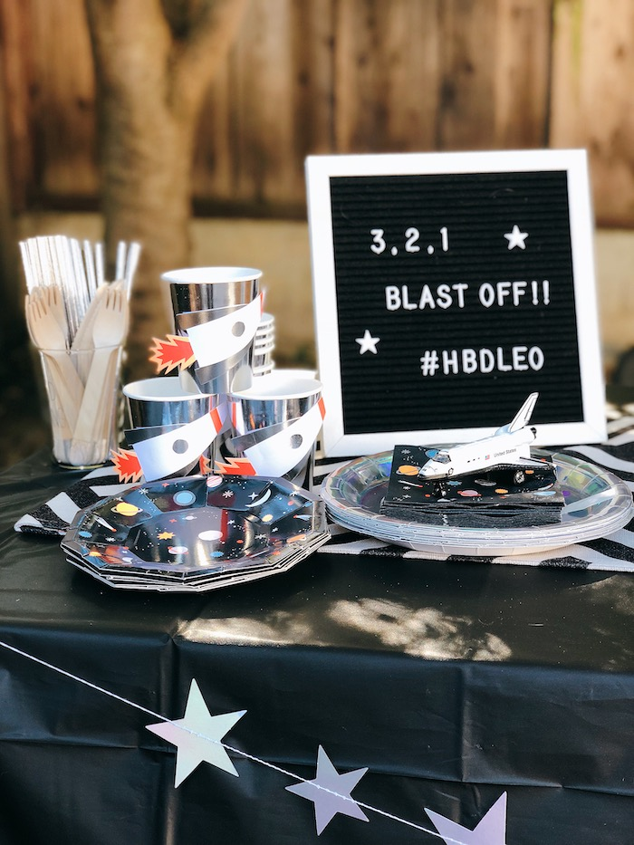 Space Partyware from a Space Galaxy Birthday Party on Kara's Party Ideas | KarasPartyIdeas.com (8)