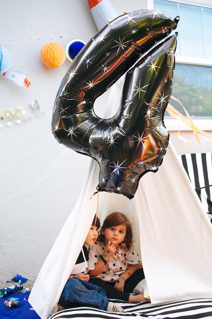 Space Balloon from a Space Galaxy Birthday Party on Kara's Party Ideas | KarasPartyIdeas.com (6)