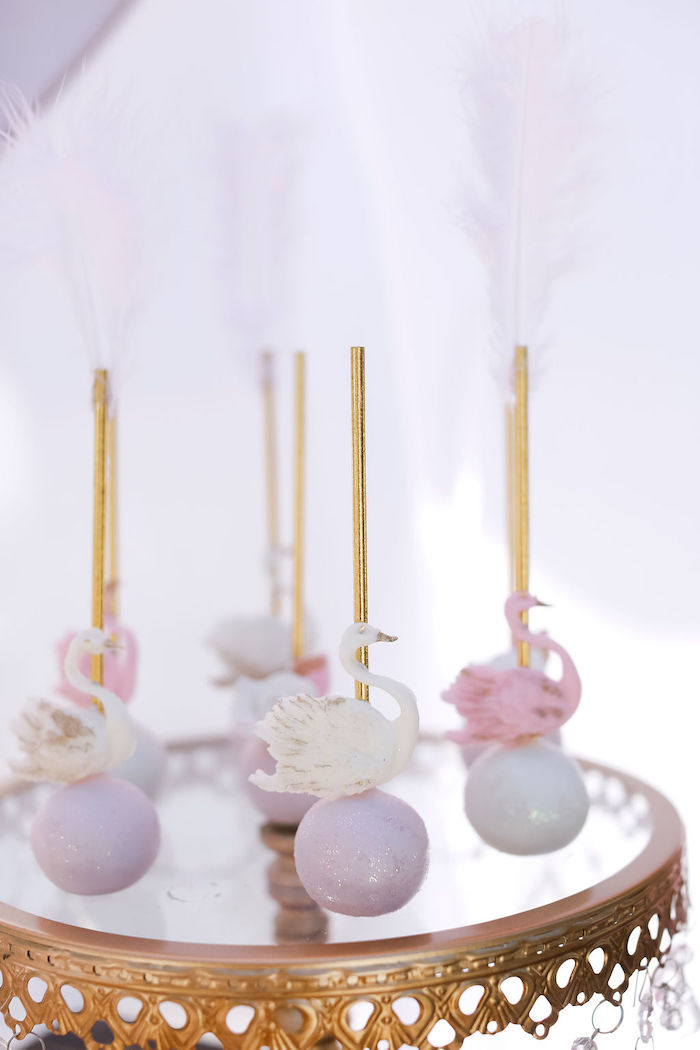 Swan Cake Pops from a Sweet Swan 1st Birthday Party on Kara's Party Ideas | KarasPartyIdeas.com (18)