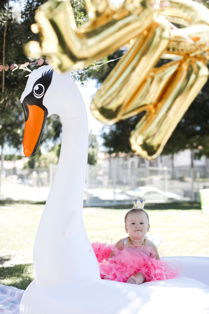 Inflatable Swan from a Sweet Swan 1st Birthday Party on Kara's Party Ideas | KarasPartyIdeas.com (25)