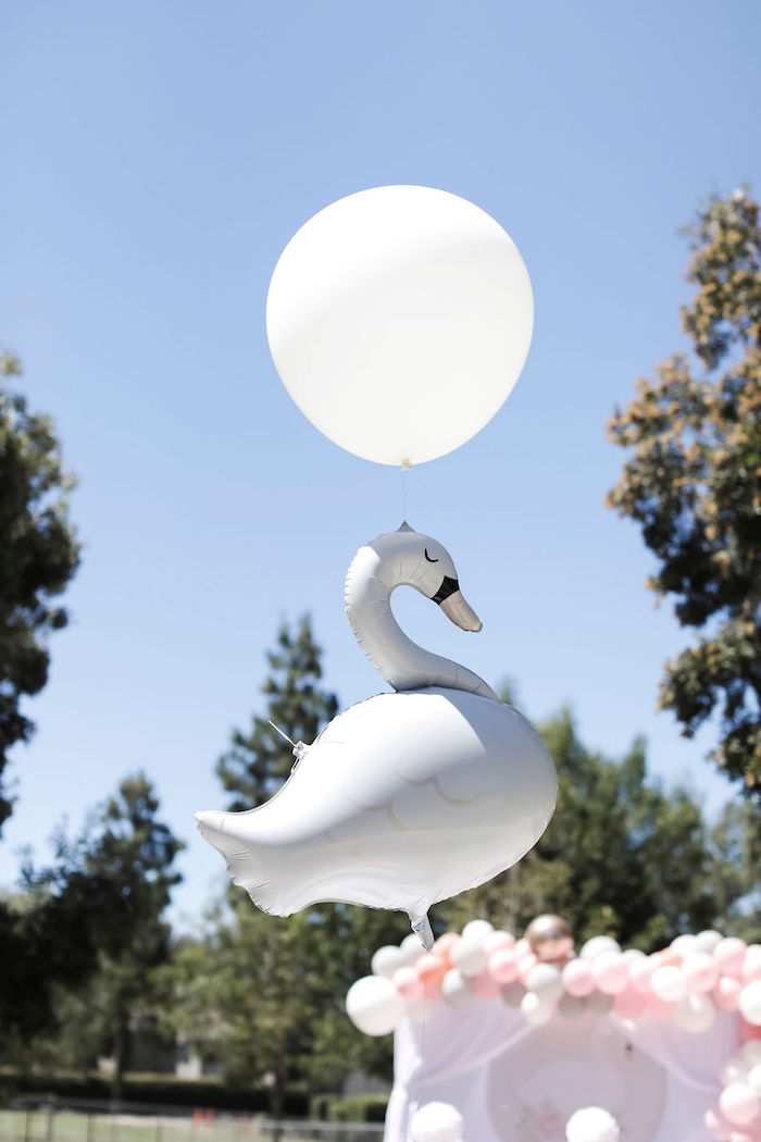 Swan Balloon from a Sweet Swan 1st Birthday Party on Kara's Party Ideas | KarasPartyIdeas.com (24)
