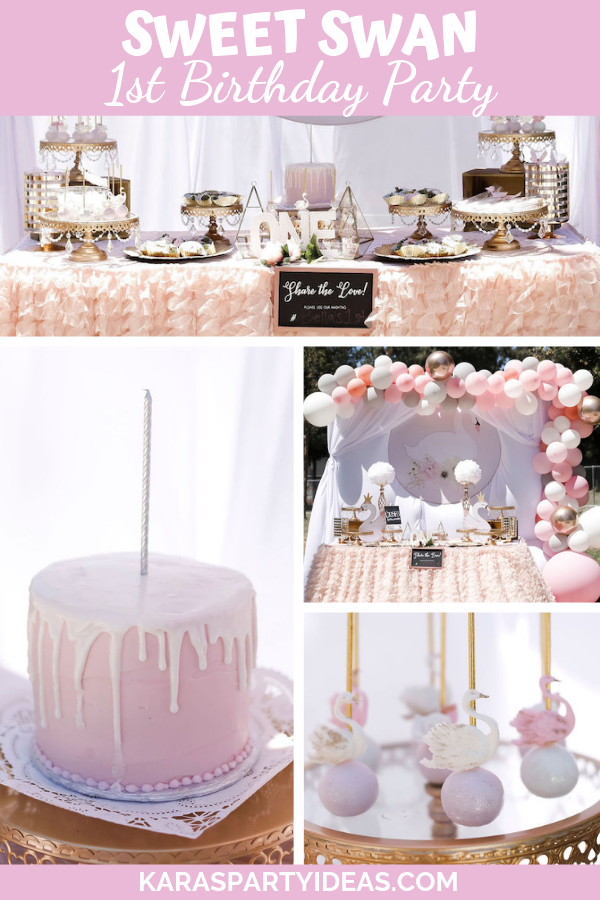 Sweet Swan 1st Birthday Party via Kara's Party Ideas - KarasPartyIdeas.com