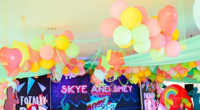 Neon Balloon + Chain Ceiling from a Totally Awesome 80's Neon Party via Kara's Party Ideas | KarasPartyIdeas.com (11)