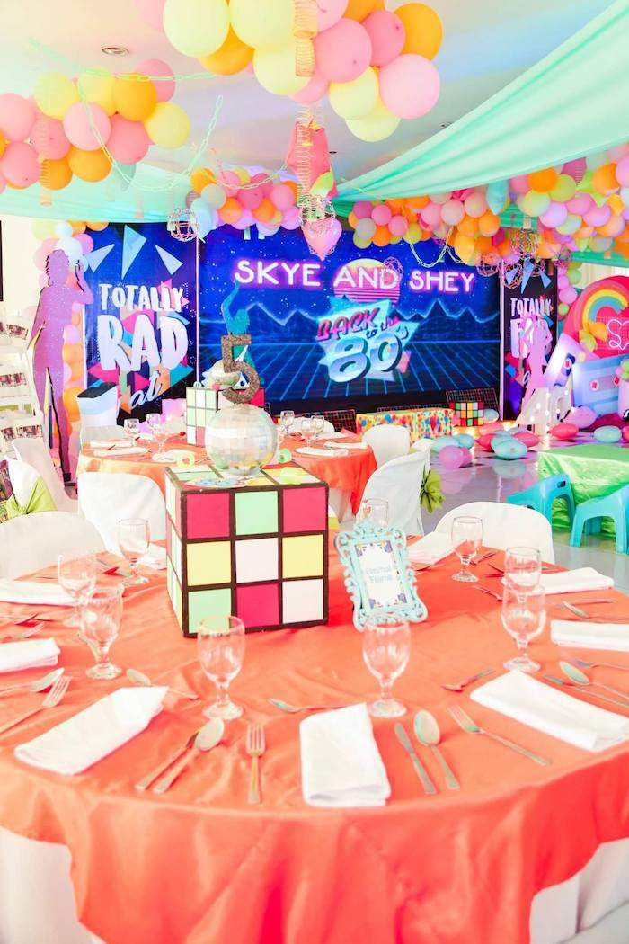 80's Themed Guest Table from a Totally Awesome 80's Neon Party via Kara's Party Ideas | KarasPartyIdeas.com (8)