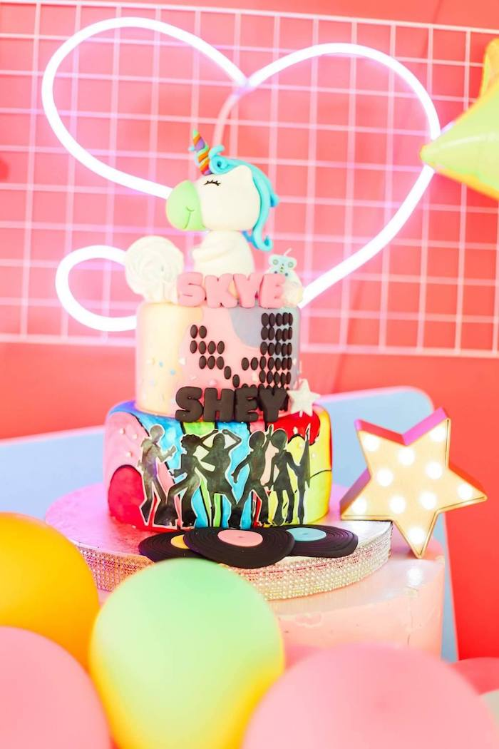 80's Themed Birthday Cake from a Totally Awesome 80's Neon Party via Kara's Party Ideas | KarasPartyIdeas.com (20)
