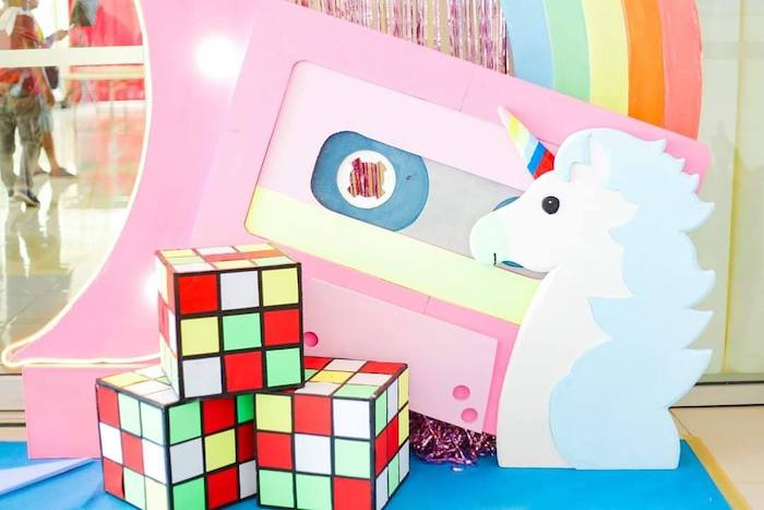 Rubik's Cube Decoration Blocks from a Totally Awesome 80's Neon Party via Kara's Party Ideas | KarasPartyIdeas.com (14)