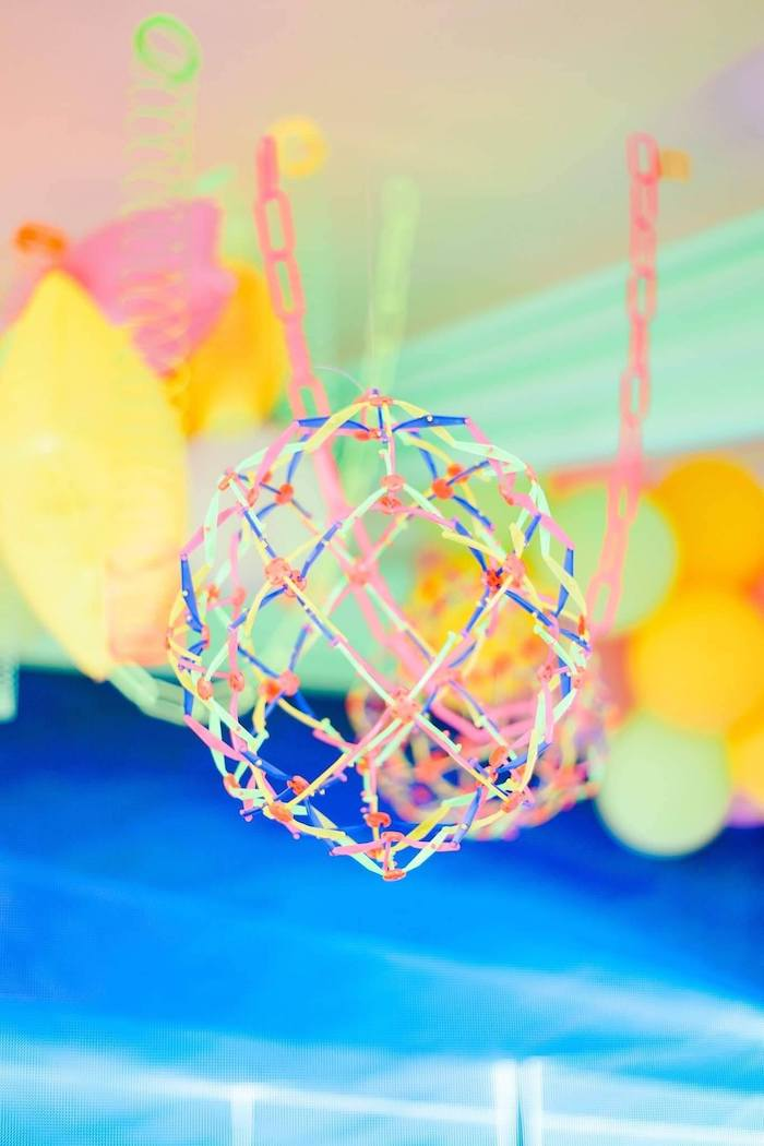 Hanging Retractable Ball from a Totally Awesome 80's Neon Party via Kara's Party Ideas | KarasPartyIdeas.com (13)