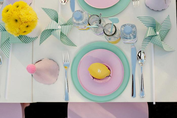Pink + Mint Table Setting from a Vintage Chic Sunshine & Lemonade Party on Kara's Party Ideas | KarasPartyIdeas.com (25)