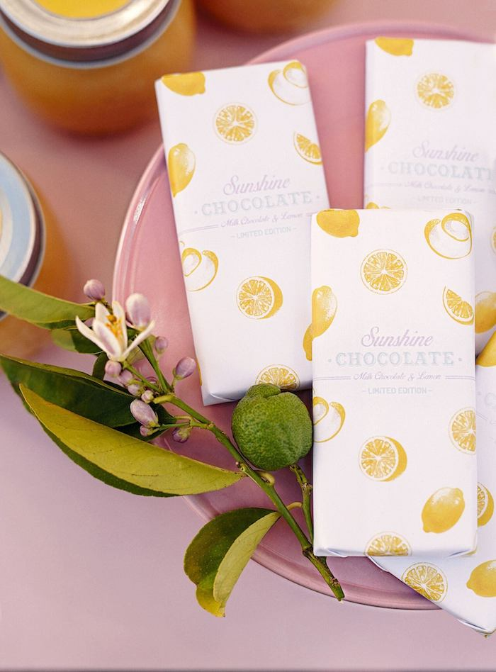 Chocolate Bars in Lemon-printed Wrappers from a Vintage Chic Sunshine & Lemonade Party on Kara's Party Ideas | KarasPartyIdeas.com (22)