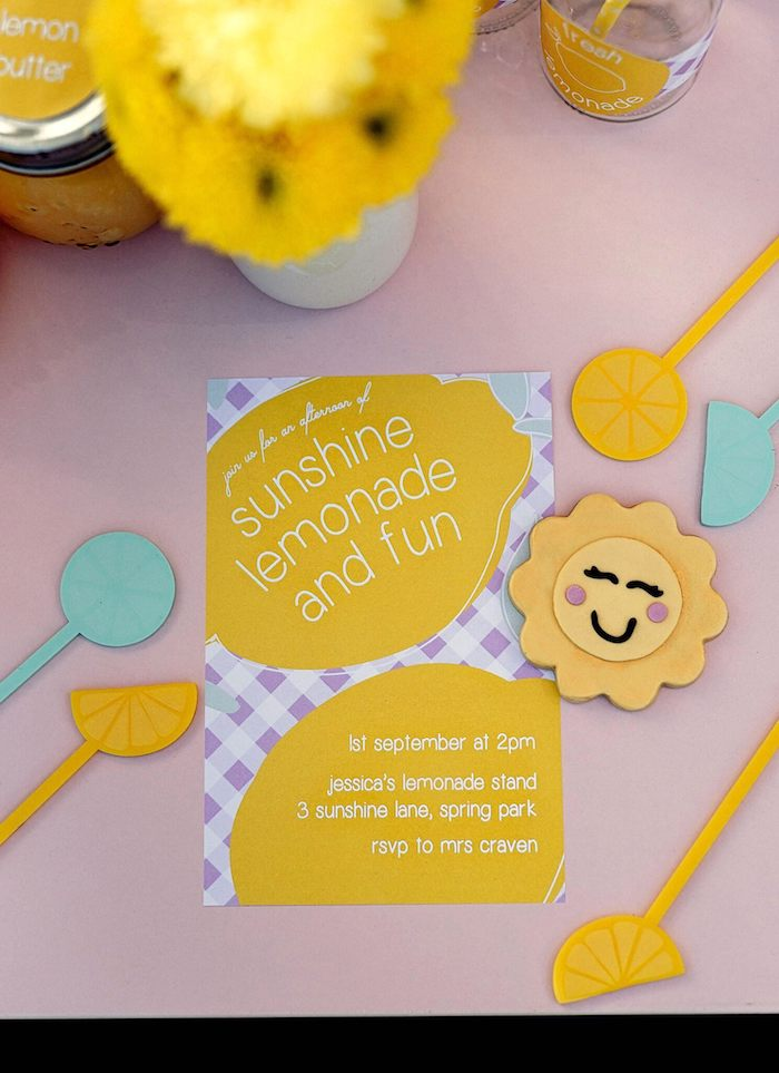 Lemon and Lattice Party Invite from a Vintage Chic Sunshine & Lemonade Party on Kara's Party Ideas | KarasPartyIdeas.com (20)