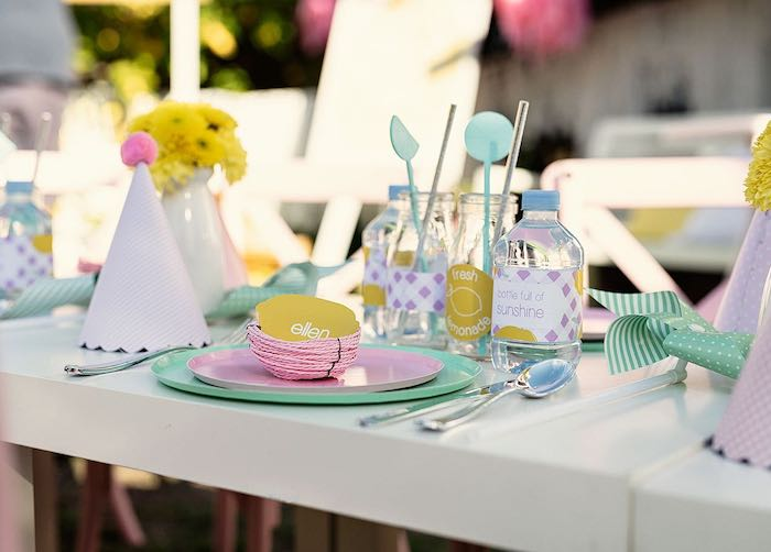 Adorable Lemon-inspired Table Setting from a Vintage Chic Sunshine & Lemonade Party on Kara's Party Ideas | KarasPartyIdeas.com (19)