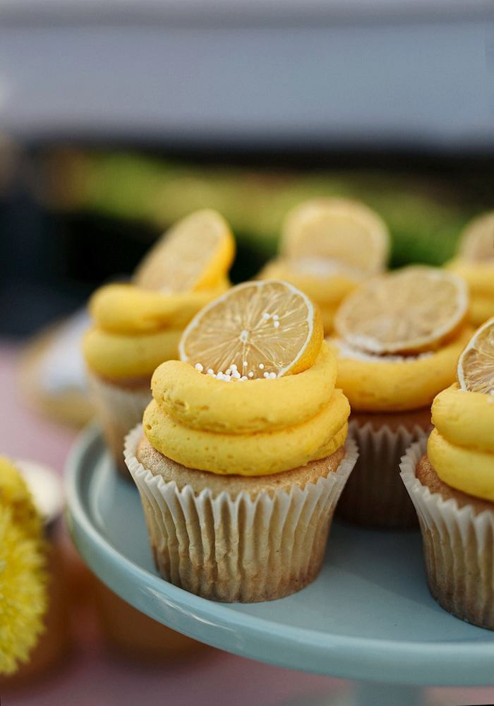 Lemon Themed Cupcake from a Vintage Chic Sunshine & Lemonade Party on Kara's Party Ideas | KarasPartyIdeas.com (18)