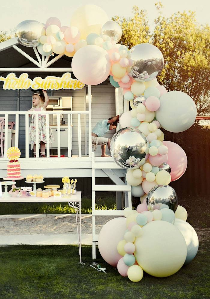 Balloon Installation from a Vintage Chic Sunshine & Lemonade Party on Kara's Party Ideas | KarasPartyIdeas.com (17)