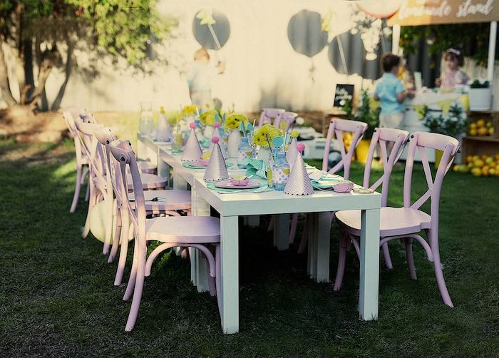 Guest Table from a Vintage Chic Sunshine & Lemonade Party on Kara's Party Ideas | KarasPartyIdeas.com (15)