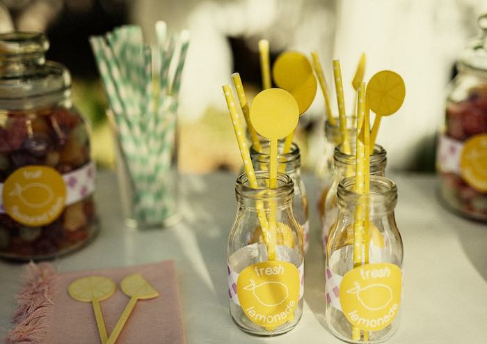 Fresh Lemonade Drink Bottles from a Vintage Chic Sunshine & Lemonade Party on Kara's Party Ideas | KarasPartyIdeas.com (13)