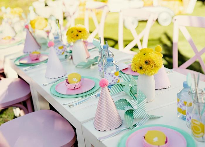 Guest Table from a Vintage Chic Sunshine & Lemonade Party on Kara's Party Ideas | KarasPartyIdeas.com (11)