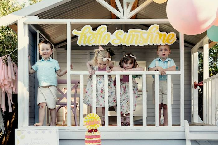 Hello Sunshine Banner from a Vintage Chic Sunshine & Lemonade Party on Kara's Party Ideas | KarasPartyIdeas.com (10)