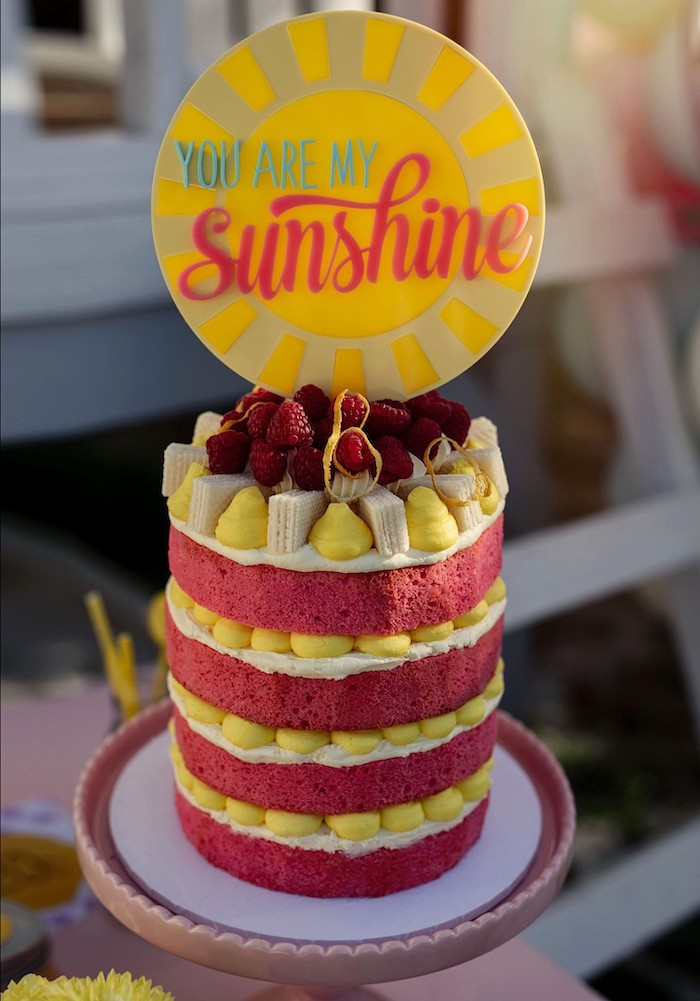You Are My Sunshine Cake from a Vintage Chic Sunshine & Lemonade Party on Kara's Party Ideas | KarasPartyIdeas.com (8)
