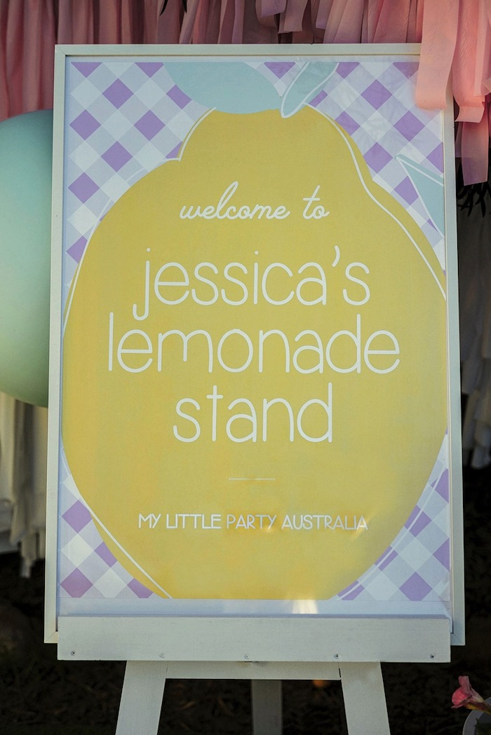 Lemon and Lattice Welcome Sign from a Vintage Chic Sunshine & Lemonade Party on Kara's Party Ideas | KarasPartyIdeas.com (29)