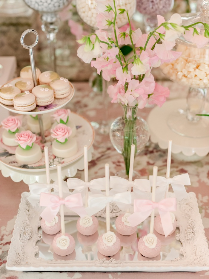 Rose Bud Cake Pops from a Vintage Garden Baby Shower on Kara's Party Ideas | KarasPartyIdeas.com (10)