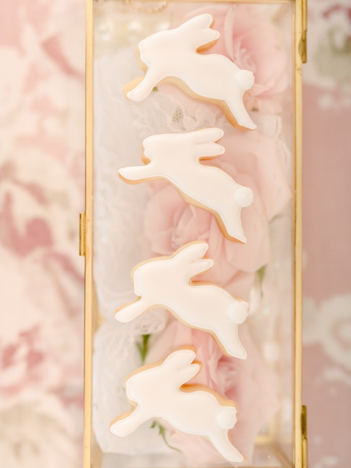 White Bunny Cookies from a Vintage Garden Baby Shower on Kara's Party Ideas | KarasPartyIdeas.com (6)