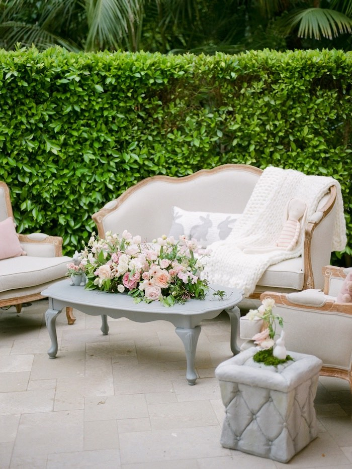 Garden Lounge from a Vintage Garden Baby Shower on Kara's Party Ideas | KarasPartyIdeas.com (31)